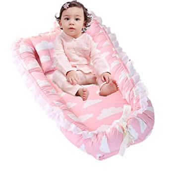 Pink Ruffles Baby Lounger and Baby Nest,Girls Baby Cot Bed Detachable and Washable Sharing Co Sleeping Baby Bassinet Bed Portable Crib Newborn Baby