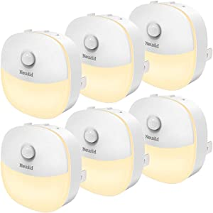 Newild Plug-in Motion Sensor Night Lights with Auto Dusk-to-Dawn, LED Warm White Nightlight, Adjustable Brightness for Hallway, Stairs, Bedroom, Bathroom, Kitchen, Energy Efficient, Compact, 6-Pack