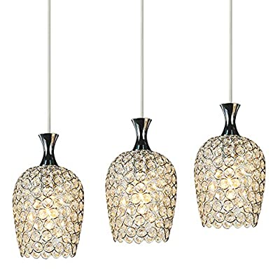DINGGU™ Modern 3 Lights Crystal Pendant Lighting for Kitchen Island and Dining Room