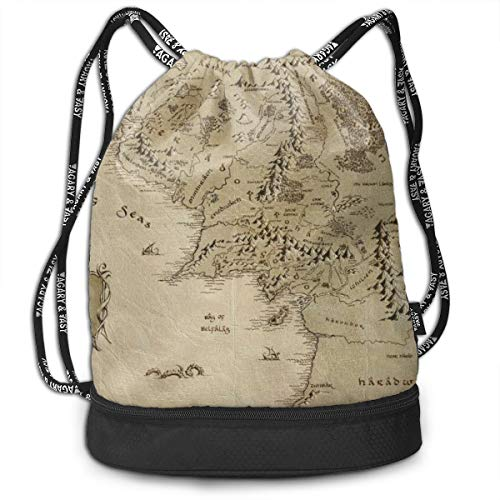 Middle Earth Map Drawstring Bag For Mens And Womens, 100% Polyester Original Backpack