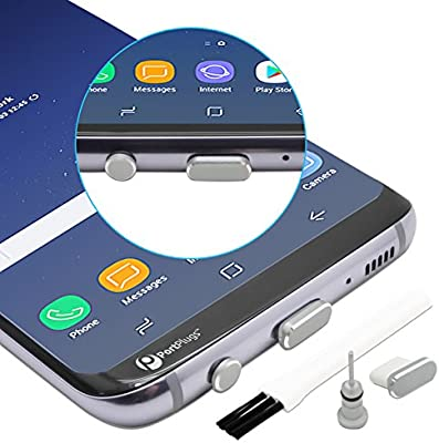 PortPlugs - USB C Aluminum Dust Plug Set - Charging Port and Headphone Jack with Integrated SIM Tool - Includes Holders and Cleaning Brush (Silver)