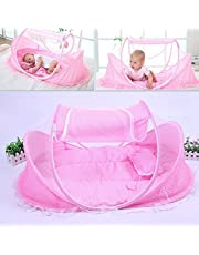 KidsTime Baby Travel Bed,Baby Bed Portable Folding Baby Crib Mosquito Net Portable Baby Cots Newborn Foldable Crib(PINK) by KidsTime