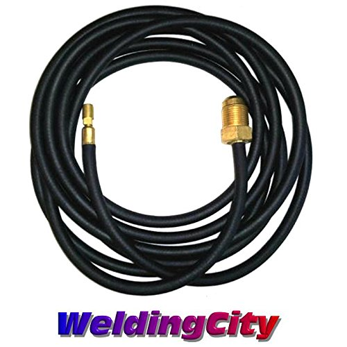 (WeldingCity 250Amp Power Cable Hose 45V04R 25-ft Rubber for Water-Cooled TIG Welding Torch 20 in Lincoln Miller ESAB Weldcraft CK Everlast AHP)