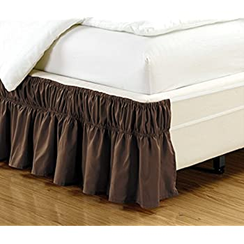 wrap around style brown ruffled solid bed skirt fits both queen and king size bedding 100