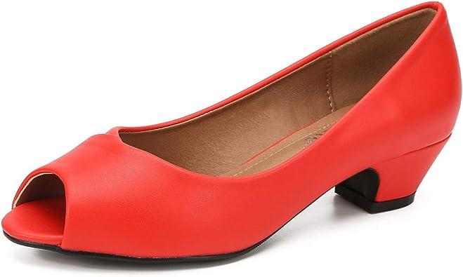 Red Peep Toe Shoes Low Heel