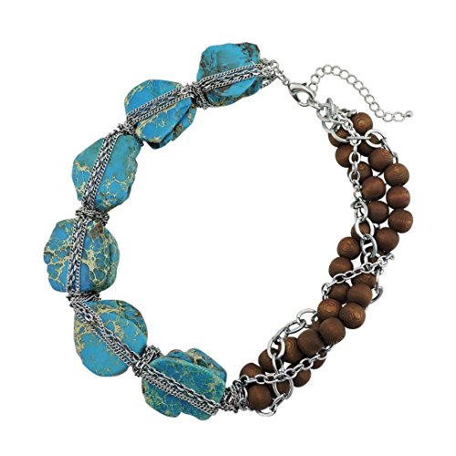 (BOCAR Personalized Big Statement Turquoise Chunky Collar Chain Necklace for Women Gifts (NK-10271-peacock blue))