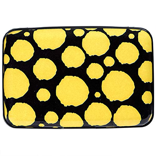 Aluminum Wallet RFID Blocking Slim Metal Credit Card Holder Hard Case (Yellow Hand Painted dots)
