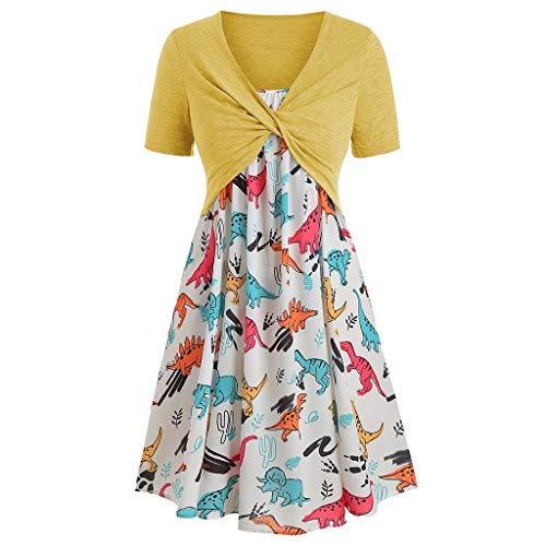 Daily Wear Dresses for Women,TIFENNY Lady Fashion Short Sleeve Front Criss Cross Top + Floral Print Mini Dress Suits ()