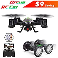 FPV RC Drone with Camera Live Video,Rolytoy 2 in 1 Remote Control Car and App Wifi Mini Quadcopter for Kids with LED Light, 720P HD Camera, 3D Flips, Headless Mode
