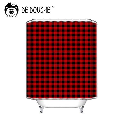 "Custom Shower Curtains Rustic Red Black Buffalo Check Plaid Pattern Shower Curtain 72""X80"""