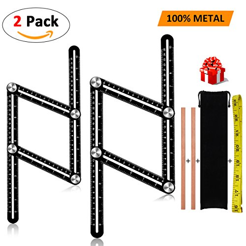 The Buzz Digger, WEIO2018 Upgraded2 PACK Premium Full Aluminum Alloy Angle Measurement Tool Universal Angulizer Ruler Metal Template Tool for Measuring Angels with Pencil Bag for Builders DIYers