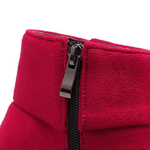 AllhqFashion Mujeres Puntera Redonda Cuña Caña Baja Sólido Botas con Ornamento Metal Rojo