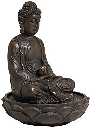 "Meditating Bronze Seated 27 1/2"" High Buddha Fountain"