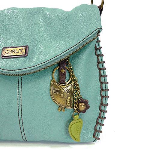 and or With Top Owl Bag Crossbody Zipper Handbag Shoulder Teal Flap Chala Charming wx6CqqU