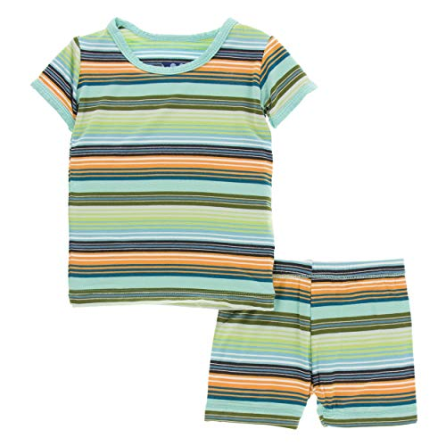 Kickee Pants Cancun Print S/S Pajama Set with Shorts - Cancun Glass Stripe, 2T