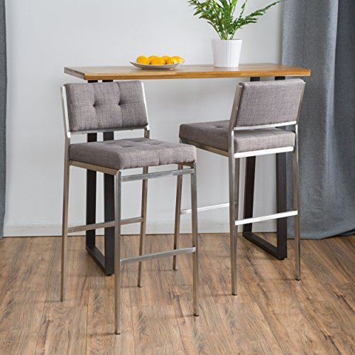- Christopher Knight Home 296628 Qyto Light Grey Fabric Barstools (Set of 2),