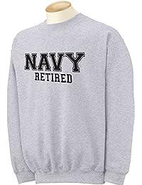 Navy Retired Black logo Military Style PT Crewneck Sweatshirt