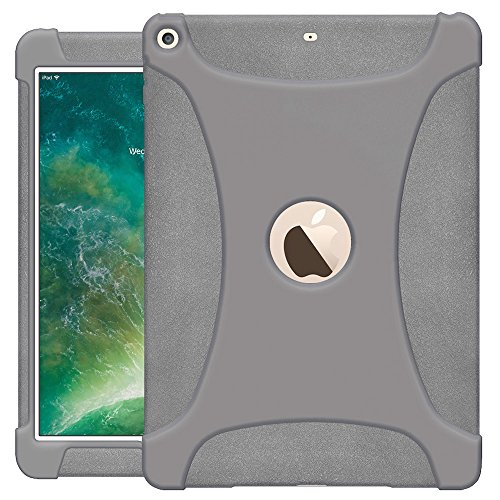 Heavy Duty Silicone Skin Case (AMZER AMZ203676 Rugged Silicone Skin Jelly Slim Protective Heavy Duty Shockproof Anti Slip Kids Friendly Case for The New 9.7 iPad 2018 - Grey)