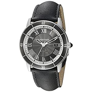 Cartier Men's 'Croisiere' Automatic Stainless Steel and Leather Casual Watch, Color:Black (Model: WSRN0003)