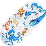 Non-Slip Bath Mat Bathtub and Shower Mat for Baby Kid's,Anti-Bacterial,Machine Washable,Fits Any Size Bath Tub,16inchx27inch (Sea world)