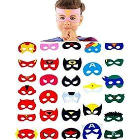 - 51wMFt4J8yL - 30 Superhero Masks Kids-Super Hero Party Supplies Justice League Birthday Favors