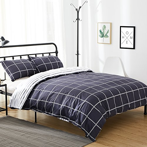 Euro Plaid Comforter (Karever 100% Cotton Duvet Cover Set Soft Queen Size 3 Piece Reversible Navy Blue Grid Plaid Checkered Pattern Bedding Sets Zipper Corner Ties)