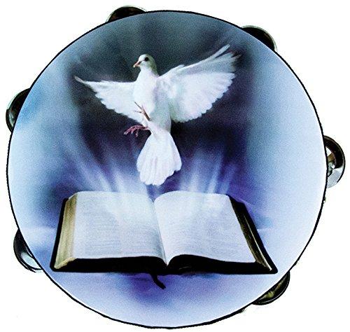 8'' Dove & Bible Double Row Jingle Percussion Tambourine for Church by Zebra Sound