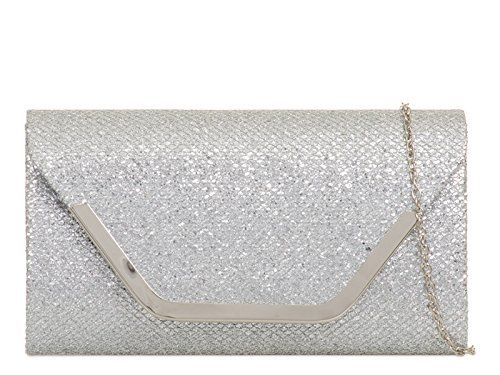 831 Bridal Women's Bag Glitter Silver Handbags Clutch Bridal mate's LeahWard Wedding z6Cx6