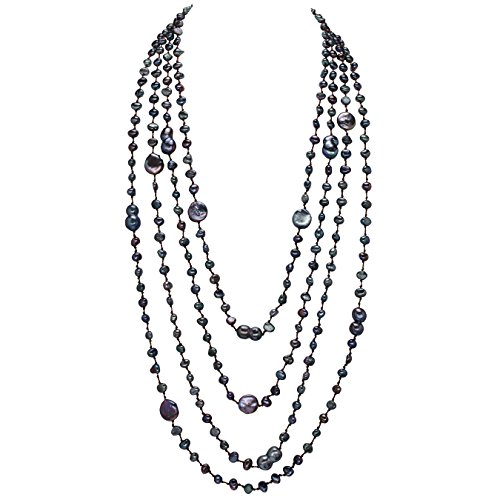 HinsonGayle 'Selena' 4-Strand Ultra-Iridescent Multicolored Black Freshwater Cultured Pearl Necklace-32 in length by HinsonGayle Fine Pearl Jewelry