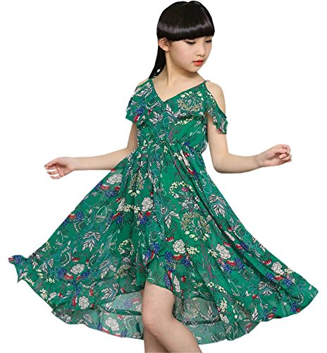 Girl's Cold Shoulders Flounce Maxi Long Beach Boho Floral Print Slip Dress Green 11-12 Years -