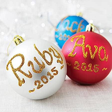 Personalised Christmas Baubles: Amazon.co.uk: Kitchen & Home