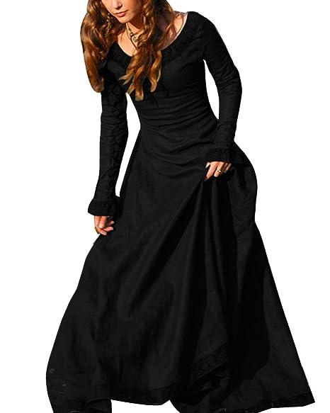 Disfraz De Medieval Para Mujer Vestido Gótico Vintage Vestido Medieval Traje De Cosplay Princesa Renacimiento Negro L