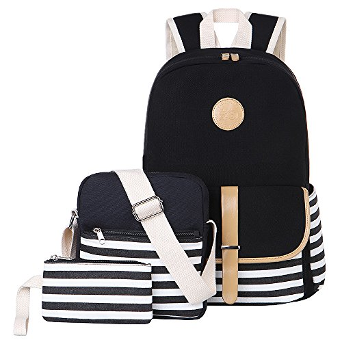 BLUBOON Teens Canvas Backpack Girls School Bags Set, Bookbags + Shoulder bag + Pouch 3 in (Girl Canvas Bag)