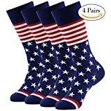 American Flag Dress Socks, LANDUNCIAGA Mid Calf Dress Socks Patriotic Boots Sock 4 Pairs,Novelty Wedding Socks Cotton Socks Mens Mid Calf Cool Design Socks