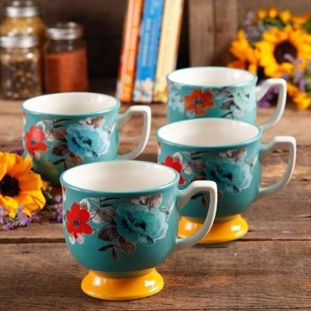 (The Pioneer Woman Flea Market 15 oz Footed Decorated Mugs, Turquoise & Yellow, Set of 4)