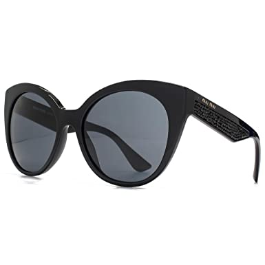 49fb38c97676 MIU MIU Crystal Rocks Round Cateye Sunglasses in Black MU 07RS 1AB1A1 55 55  Grey
