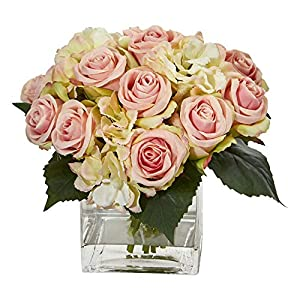 Nearly Natural 1838 Rose and Hydrangea Bouquet Artificial Vase Silk Arrangements Pink 69