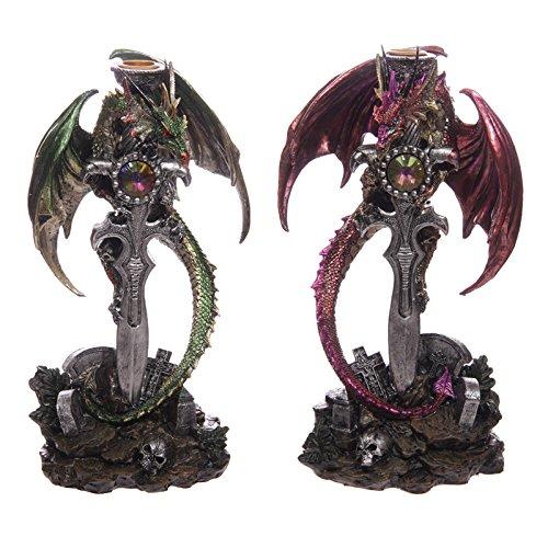 Drago della Leggenda Oscura Candelabro Portacandela con Drago su Spada