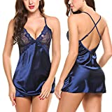 #9: Avidlove Women Lingerie V Neck Nightwear Satin Sleepwear Lace Chemise Mini Teddy