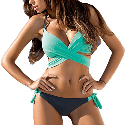 Fantastic Zone Women's Solid Color Push Up Bandage Swimsuit Bikini Set Bathing...