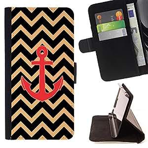 Dragon Case- Mappen-Kasten-Prima caja de la PU billetera de cuero con ranuras para tarjetas, efectivo Compartimiento desmontable y correa para la mu?eca FOR Sony Xperia Z3 D6653- Chevron Anchor Boat