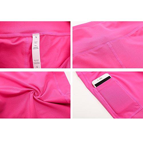 slim Rosa ciclismo palestra yoga corsa alta Pantaloncini a Mxssi vita shapewear da da Pantaloncini Active da allenamento da donna da qxwwzpTH6
