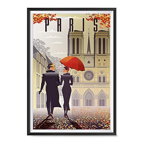 Art Print Poster Paris - EzPosterPrints - Retro World Famous City Posters - Decorative, Vintage, Retro, Grunge Travel Poster Printing - Wall Art Print for Home Office - Paris, France - 12X18 inches