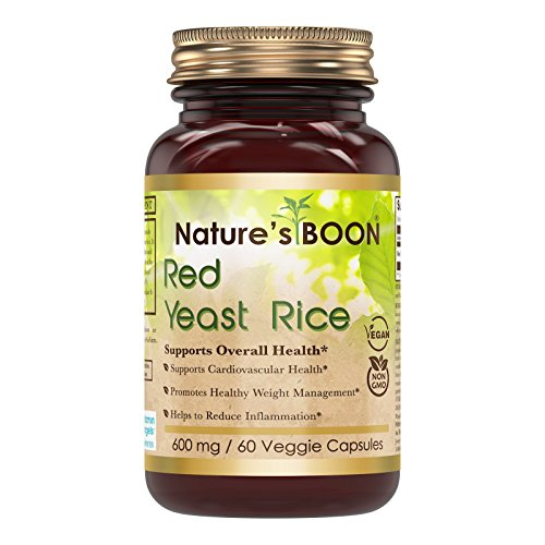 Nature's Boon Premium Quality Red Yeast Rice 600 mg 60 Veggie Capsules(Glass Bottle) -Supports Healthy Cholesterol Level…