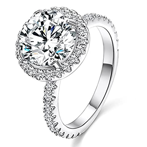 Lady Rings Halo Big Stone AAA Cubic ZirconiaRhodium Plated Wedding Engagement Party Jewelry Size - Big Stone Ring