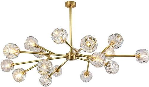 Cclight Mid Century G9 Crystal Chandelier Bedroom, 18 Lights Branch Molecules Large Pendant Light Sputnik Iron Adjustable Flush Mount Lamp Dia 38 Height 25 -18-Light White Light