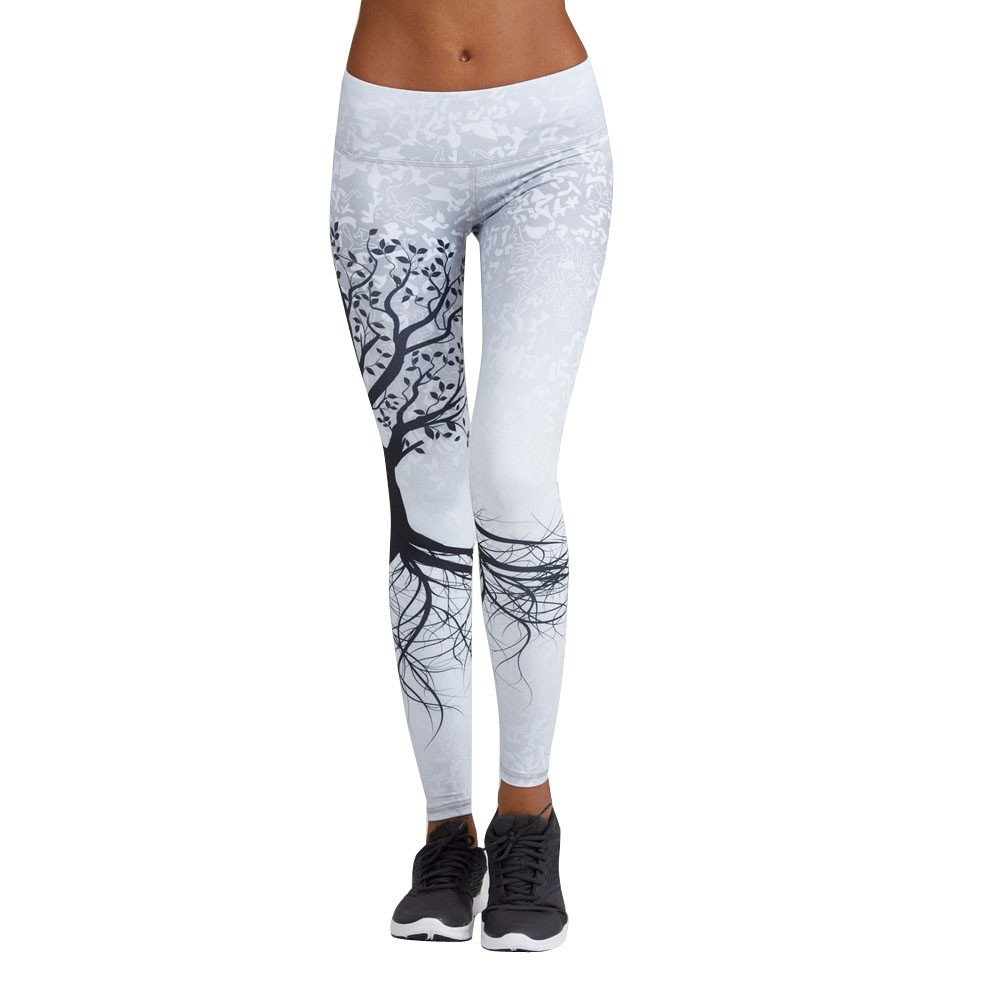 wodceeke Womens High Waisted Print Yoga Pants, Sports Yoga Workout Gym Fitness Exercise Athletic Pants Trouser (S, White)