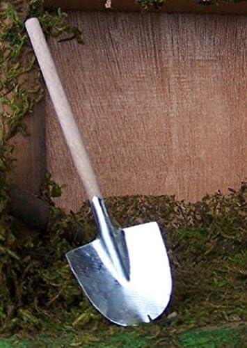 für   Weihnachtskrippe. Miniatur Blech Schaufel mit Holzstiel Größe 18 cm