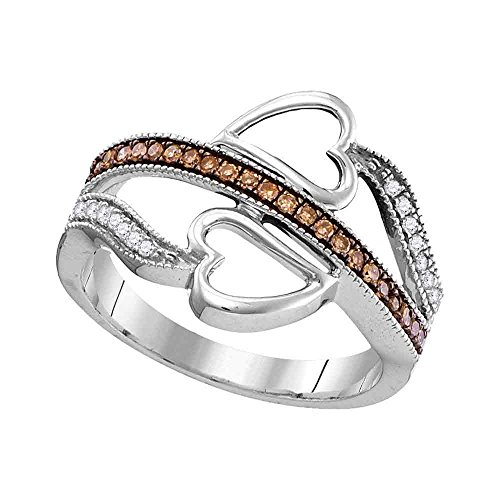 - Size - 6.5 - Solid 10k White Gold Round Chocolate Brown and White Diamond Prong Set Curved Heart Wedding Band OR Fashion Ring (1/5 cttw)