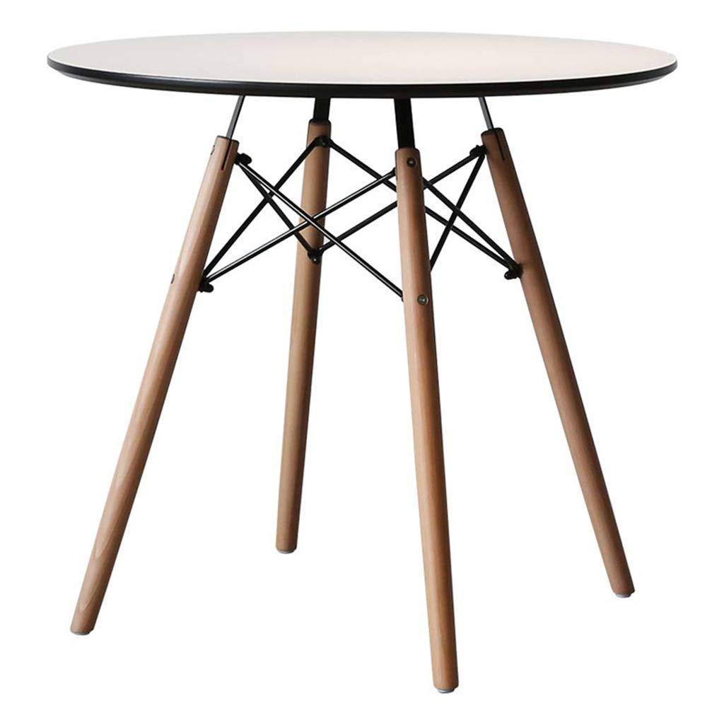四脚ラウンドエンドテーブルホームデザートショップカフェシンプルサイドテーブルソリッドウッドテーブルレッグ防火美容ボードデスクトップホワイト B07MQZ66LY